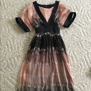 Bcbg navy blue and light pink bohemian dress